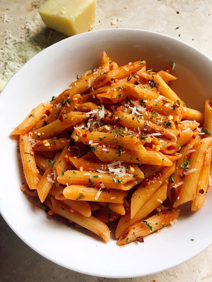 """Arrabbiata Pasta - also known as """"angry"""" pasta. A classic red sauce with a slight kick! Easy to make and ready by the time your pasta is done! 