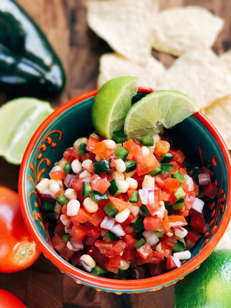 Fresh pico de gallo is an easy to make appetizer or dip! Perfect for Mexican night, this fresh salsa is full of bright flavors. Make in advance for an easy salsa or topping. Vegan, vegetarian, gluten free. Fresh Pico de Gallo | Three Olives Branch | www.threeolivesbranch.com