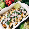 Roasted Poblano Salsa Verde Chicken Enchiladas