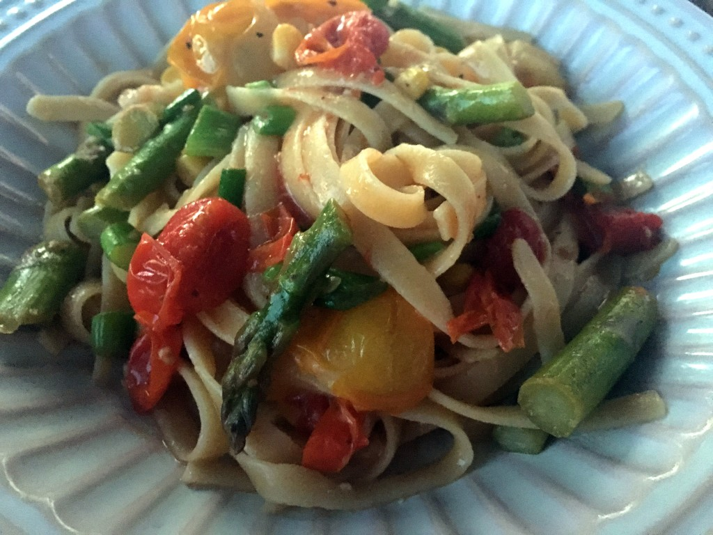 Spring Vegetable Fettuccine with White Wine Sauce | Three Olives ...