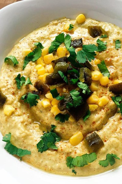 Roasted Poblano Sweet Corn Hummus