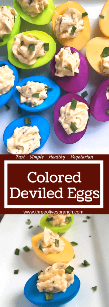 Perfect for Easter and entertaining, these colored eggs are fun and festive! Fast and easy to make, perfect for kids to do. Use food coloring to achieve your desired shade and color. Great with any of your favorite deviled egg recipes. Colored Deviled Eggs | Three Olives Branch | www.threeolivesbranch.com