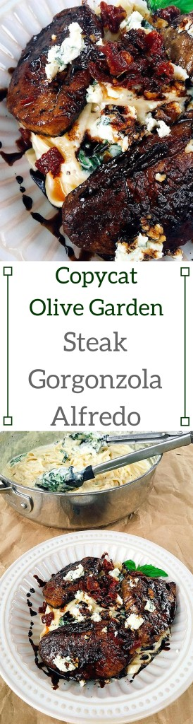 Bring a night out home! Make your own version of this popular OG dish. Copycat Olive Garden Steak Gorgonzola Alfredo | Three Olives Branch | www.threeolivesbranch.com
