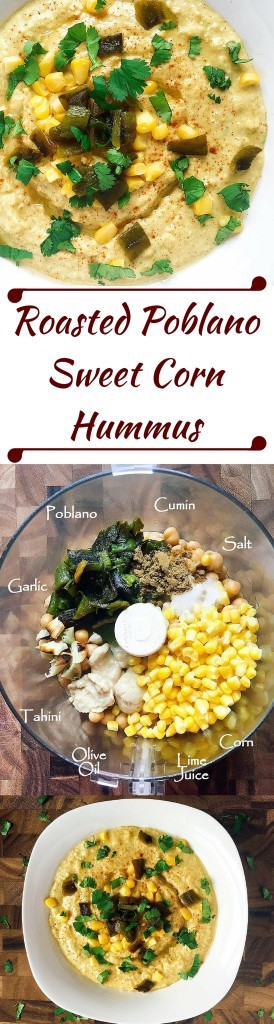 Don't buy hummus when it is so easy to make your own! Ready in just a few minutes, this hummus combines the smoky flavor of roasted Poblano peppers with sweet corn and lime juice to bring a Mexican twist to traditional hummus. | Three Olives Branch