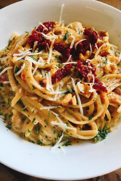 Sun-dried Tomato and Walnut Linguine with Parmesan Cream Sauce
