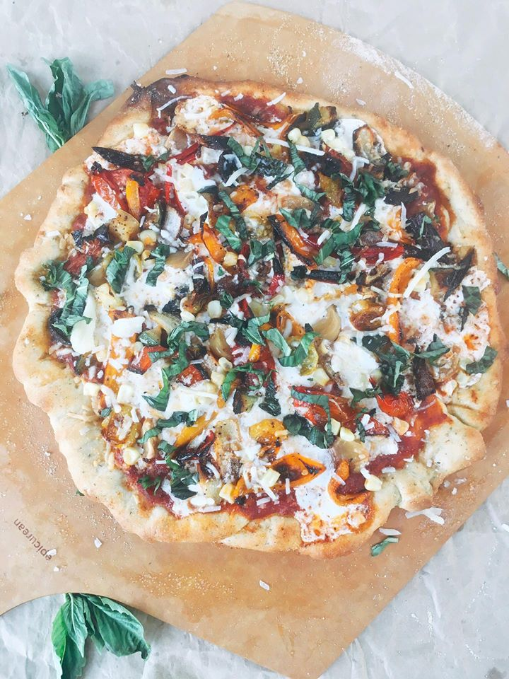 Roasted Vegetable Pizza uses caramelization of the vegetables to give added depth and flavor to your pizza. Secret ingredient topping? Roasted garlic! | Three Olives Branch