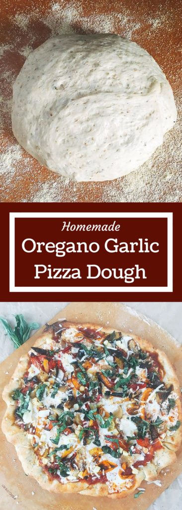 Homemade pizza dough is so easy! Just a few ingredients and minimal kneeding time to get an airy and flavorful pizza crust that you can use with any sauce and topping. You will never want a store bought crust again! Oregano Garlic Pizza Dough | Three Olives Branch
