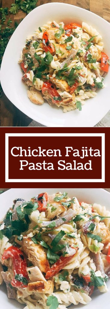 Flavors of Citrus Chicken Fajitas are transformed into a pasta salad! Kid friendly and a crowd pleaser, this Chicken Fajita Pasta Salad is the perfect side dish for a cookout! | Three Olives Branch