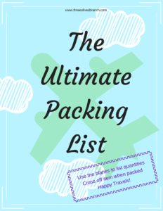 The Ultimate Packing List - Take the stress out of packing knowing that you have a list to ensure you are packing everything you need. | Three Olives Branch