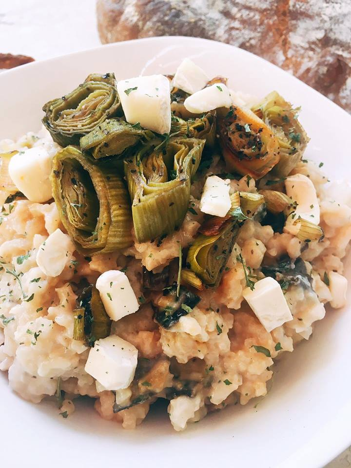 A unique and fun dish! Brie melts into the risotto to make one of the creamiest and most luxurious risottos. Roasted leeks add depth of flavor for a unique and delicious risotto. Vegetarian but would also be great with some roasted chicken mixed in! | Three Olives Branch