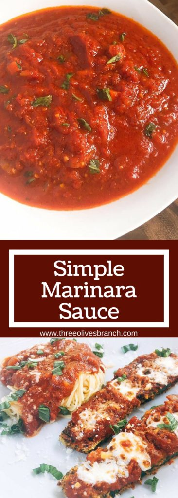 Simple flavors shine in this easy Simple Marinara Sauce! 15 minutes to simmer gives you a versatile sauce that is kid friendly while full of veggies. Vegetarian and vegan.