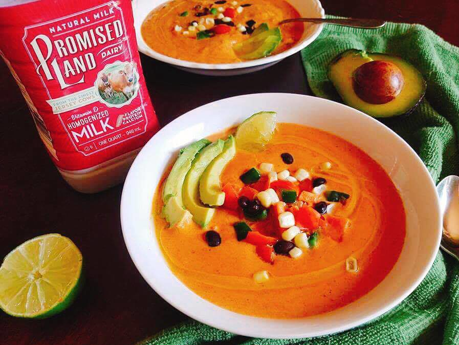 Less than 30 minutes to make this healthy and filling vegetarian soup! Perfect for cold weather and busy nights. This Southwest Sweet Potato Soup is packed with nutrition from a milk base and loaded with veggies! #ad