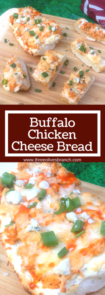 All the traditional flavors of buffalo wings in a cheesy bread! Easy and fast to prepare. Perfect for watching the big game!