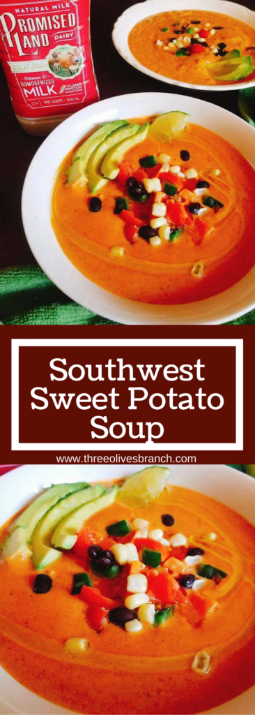 Less than 30 minutes to make this healthy and filling soup! Perfect for cold weather and busy nights. This Southwest Sweet Potato Soup is packed with nutrition from a milk base and loaded with veggies!