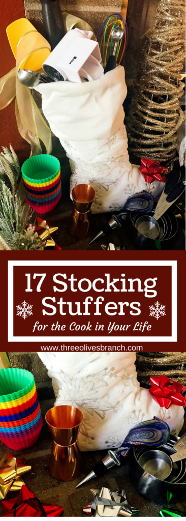 Looking for some gift ideas for the cook in your life this holiday season? These 17 Stocking Stuffers for the Cook in Your Life are a perfect list to find something special for your loved one. Great present ideas for Kwanza, Christmas, Hanukkah, and more | Three Olives Branch | www.threeolivesbranch.com