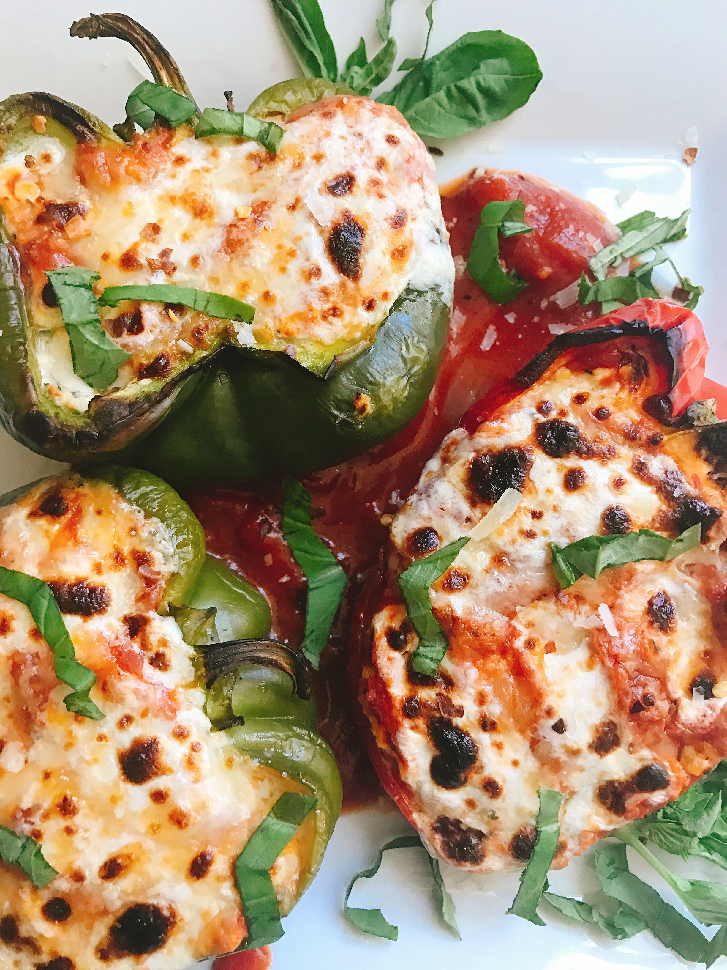 A Healthier And Gluten Free Twist On Lasagna Bell Peppers Are Layered With Ricotta Cheese