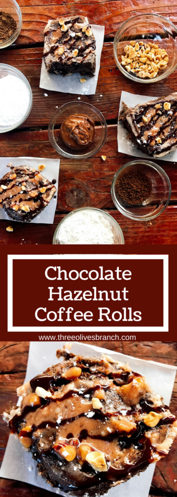 Chocolate hazelnut rolls are a decadent and sweet treat perfect for breakfast, brunch, or dessert! Make them the night before for an easy morning. A family holiday tradition, these vegetarian and kid friendly rolls are a great way to start the day. Flavored creamer makes strong flavors. Chocolate Hazelnut Coffee Rolls | Three Olives Branch | www.threeolivesbranch.com