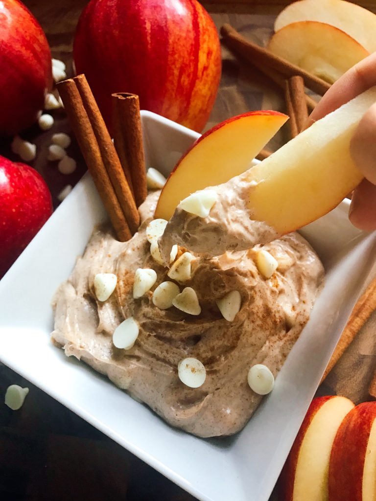 A sweet dip ready in 5 minutes! Apple and cinnamon shine in this dip that is perfect for the fall and Thanksgiving. Vegetarian, gluten free, kid friendly, and a perfect treat or snack!   Three Olives Branch   Cinnamon Apple Cream Cheese Dip   www.threeolivesbranch.com