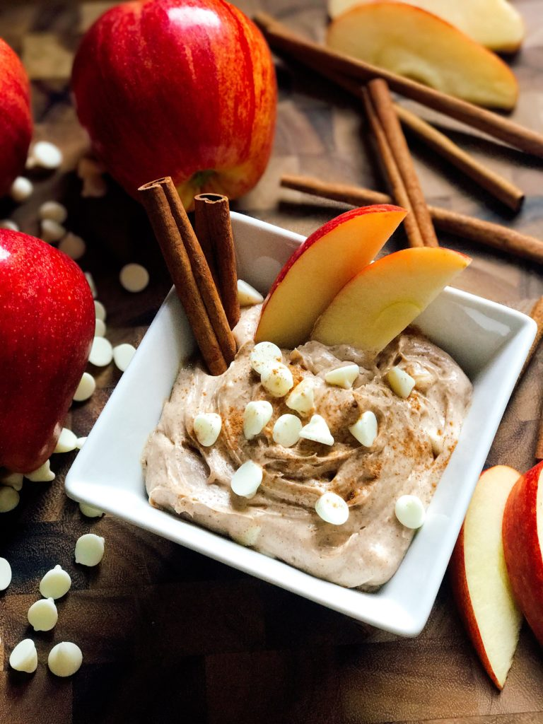 A sweet dip ready in 5 minutes! Apple and cinnamon shine in this dip that is perfect for the fall and Thanksgiving. Vegetarian, gluten free, kid friendly, and a perfect treat or snack! | Three Olives Branch | Cinnamon Apple Cream Cheese Dip | www.threeolivesbranch.com