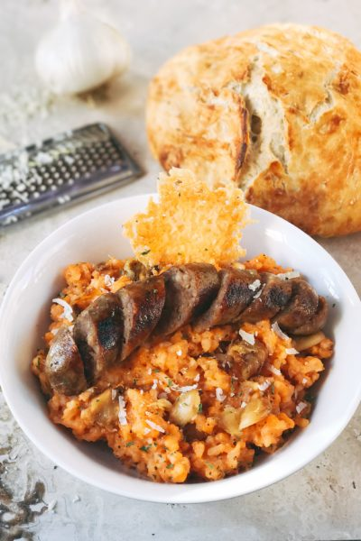 Sausage, Tomato, and Roasted Garlic Parmesan Risotto