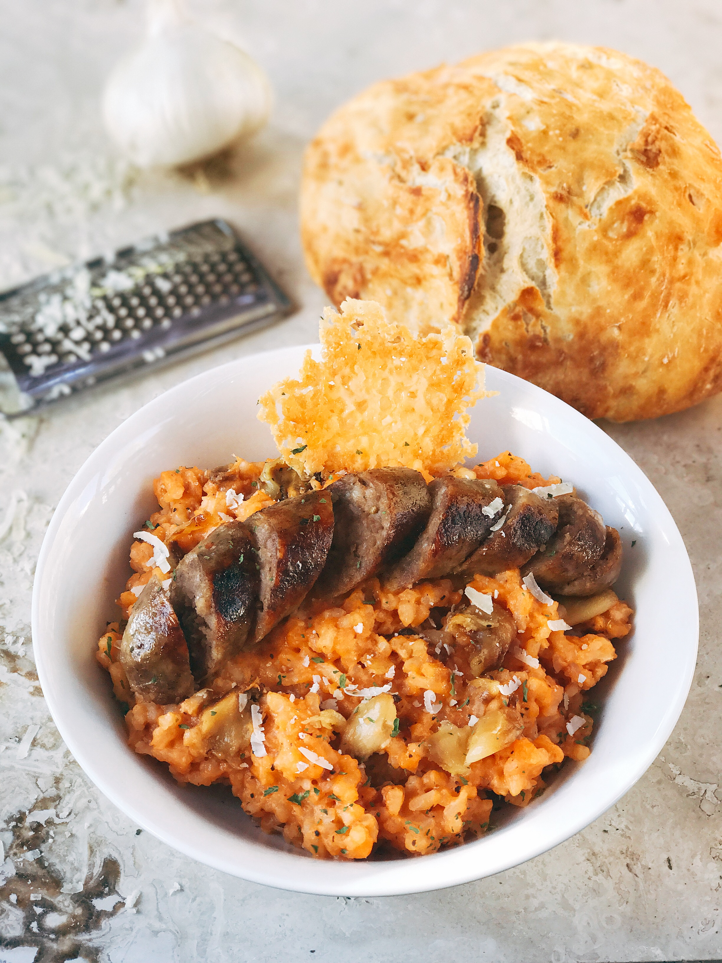 Sausage, Tomato, and Roasted Garlic Parmesan Risotto - Three Olives Branch