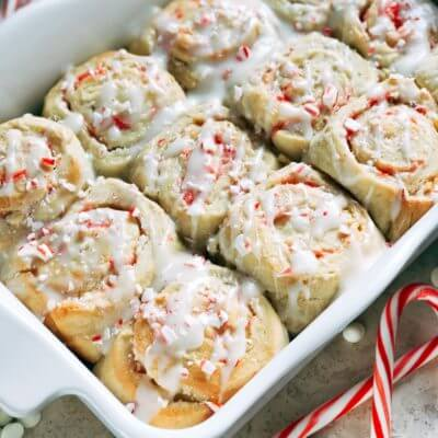 Peppermint White Chocolate Sweet Rolls