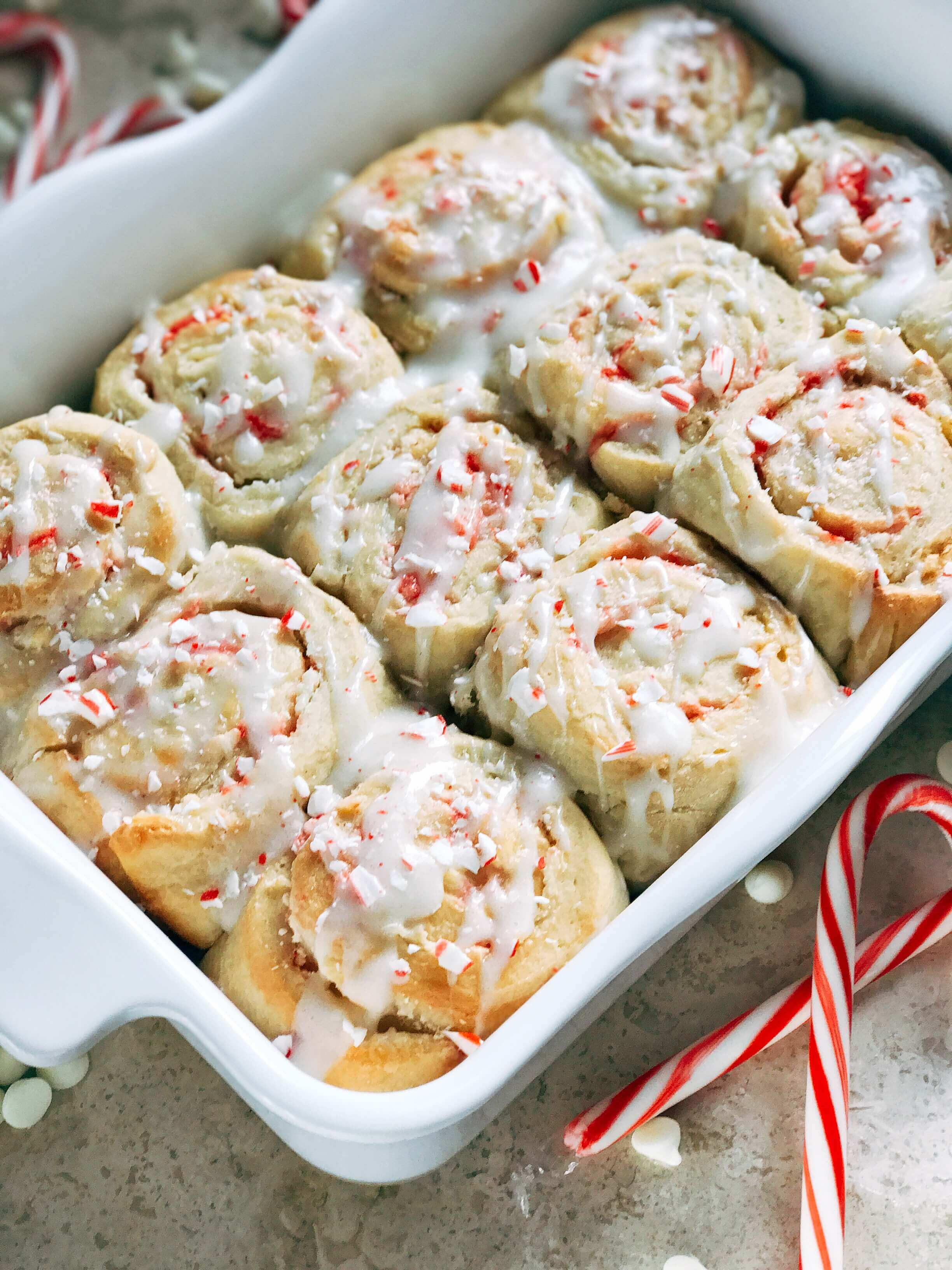 Peppermint White Chocolate Sweet Rolls - Three Olives Branch