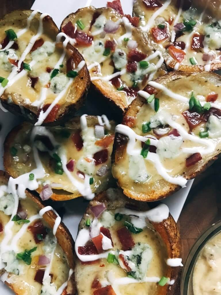 Less than 30 minutes to make your own potato skin shells! Fill with anything you like as a perfect appetizer or snack, including holidays and game day! A classic football food with endless filling options. Shells are vegan (vegetarian). How to Make Potato Skin Shells | Three Olives Branch | www.threeolivesbranch,.com