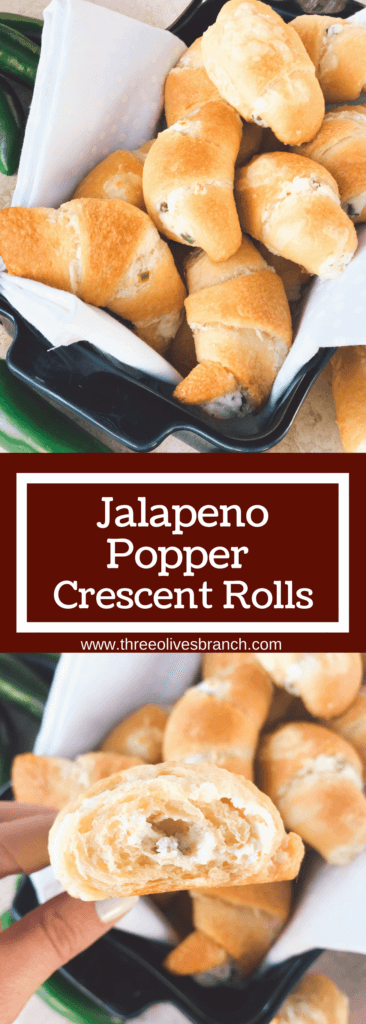Ready in 20 minutes, these rolls are perfect for game day! Fast and easy to make as a cheesy appetizer or snack, and control the spicy level. Bring them to your party or gathering for a crowd pleaser! Jalapenos, cheese, and crescent rolls. Vegetarian and kid friendly. Jalapeno Popper Crescent Rolls | Three Olives Branch | www.threeolivesbranch.com