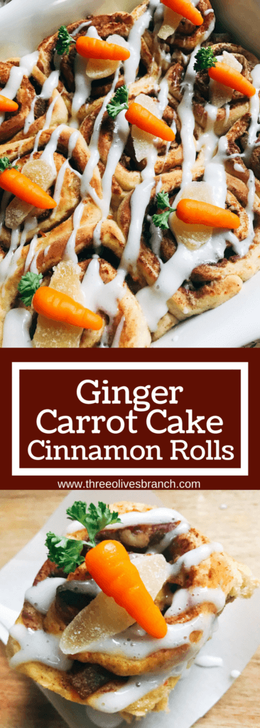 Perfect for Easter breakfast or brunch! Make these Ginger Carrot Cake Cinnamon Rolls with Cream Cheese Glaze in advance. Great for Easter holiday and spring parties. Carrot cake base with crystallized candied ginger, walnuts, and carrot cake spices. Topped with a cream cheese glaze. Vegetarian and kid friendly. #easterbrunch #easterrecipes #carrotcake
