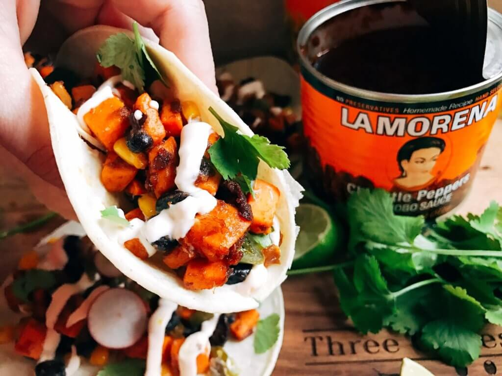 Less than 30 minutes for vegetarian and vegan tacos! Perfect for busy nights. Fast, simple, healthy, and fresh. Great for Lent, Taco Tuesday, Meatless Monday, and more. Southwest Chipotle Sweet Potato Tacos | Three Olives Branch | www.threeolivesbranch.com