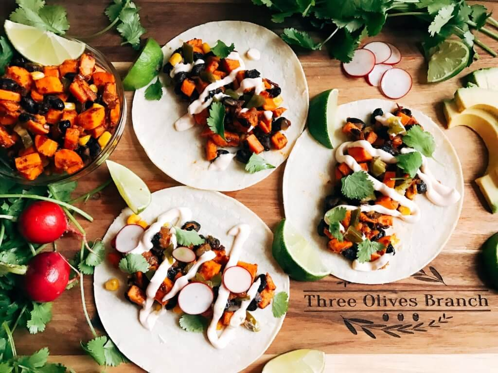 Less than 30 minutes for vegetarian and vegan tacos! Perfect for busy nights. Fast, simple, healthy, and fresh. Great for Lent, Taco Tuesday, Meatless Monday, and more. Southwest Chipotle Sweet Potato Tacos   Three Olives Branch   www.threeolivesbranch.com