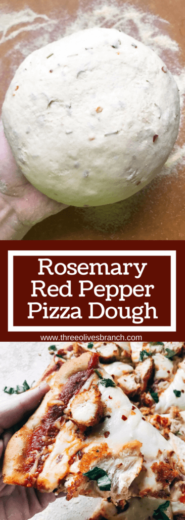 """Homemade pizza dough with a little kick! Amp up plain dough with the flavors of rosemary and red pepper, classic Italian ingredients. Delicious with a variety of toppings. Makes two 12"""" pizzas and perfect for a party pizza night. Vegetarian. Rosemary Red Pepper Pizza Dough 