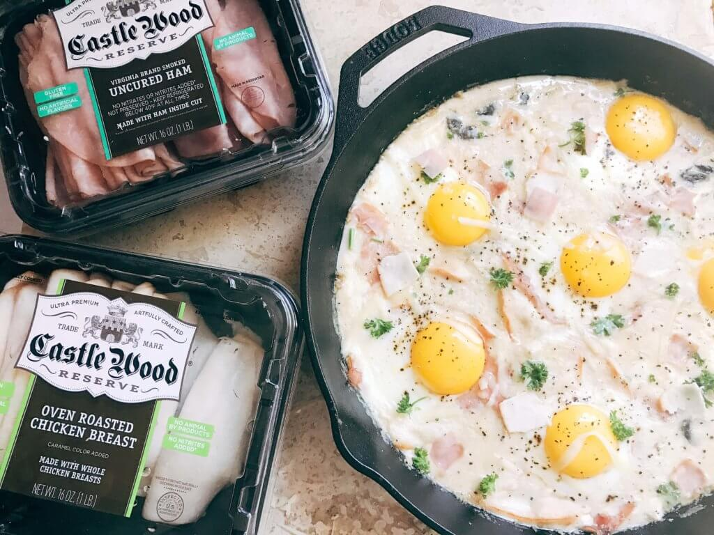 Great for spring entertaining, this dish is perfect for any meal of the day. Breakfast, brunch, lunch, or dinner, classic flavors of Chicken Cordon Bleu are combined with the style of shakshuka. Ham, chicken, cheese sauce, and eggs. Can be served on a piece of grilled chicken, bread, or eat it straight! Fast and simple to make, perfect for entertaining and parties. A great start to holiday mornings. Chicken Cordon Bleu Shakshuka | Three Olives Branch | www.threeolivesbranch.com