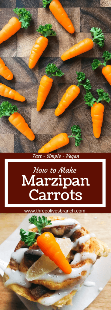 In 10 minutes you can have these adorable marzipan carrots ready for your Easter or spring celebration! Vegan and gluten free, they are a fun Easter decoration for the spring holiday that you can use on desserts and brunch recipes. Learn How to Make Marzipan Carrots #easterrecipes #easterdessert #easterbrunch