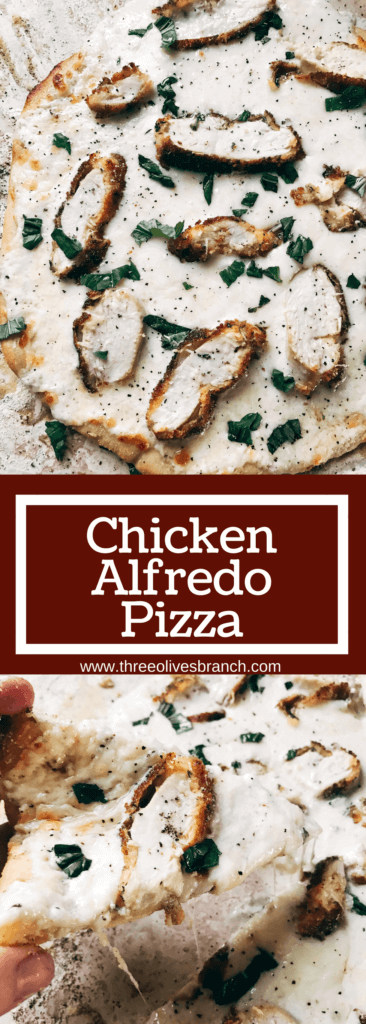 All the classic flavors of chicken alfredo pasta in pizza form! Make the sauce, chicken, and crust in advance for a fast and easy dinner. Parmesan cheese, cream, and breaded chicken star in a filling pizza that is a family favorite. Kid friendly and perfect for parties. Chicken Alfredo Pizza | Three Olives Branch | www.threeolivesbranch.com