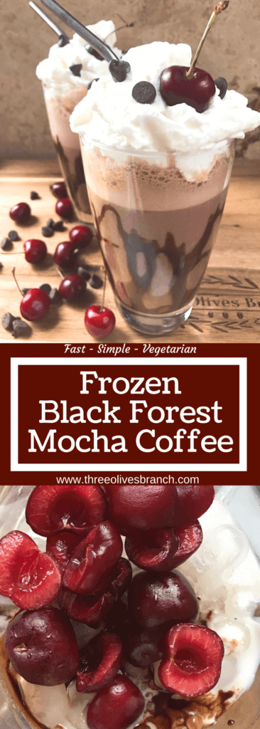 A perfect coffee drink for the summer and warm weather! Ready in just minutes, this frozen coffee can also be made as an iced coffee. Classic Black Forest dessert flavors of cream, cherries, and chocolate are paired with coffee for a fun treat. Simple and easy to make, vegetarian. Frozen Black Forest Mocha Coffee | Three Olives Branch | www.threeolivesbranch.com