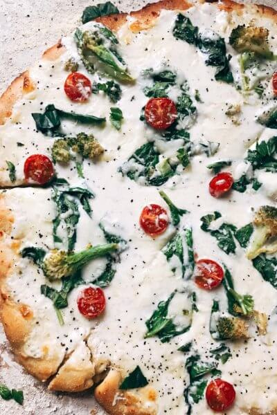 Spinach Broccoli Alfredo Pizza
