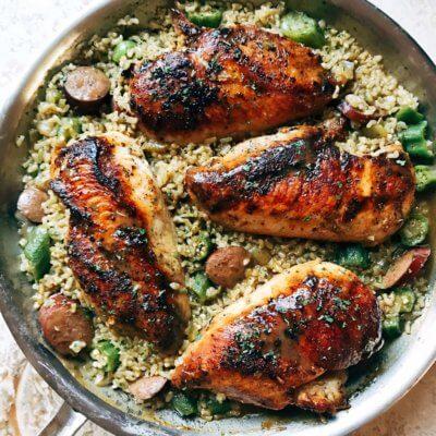 Blackened Cajun Chicken with Gumbo Rice