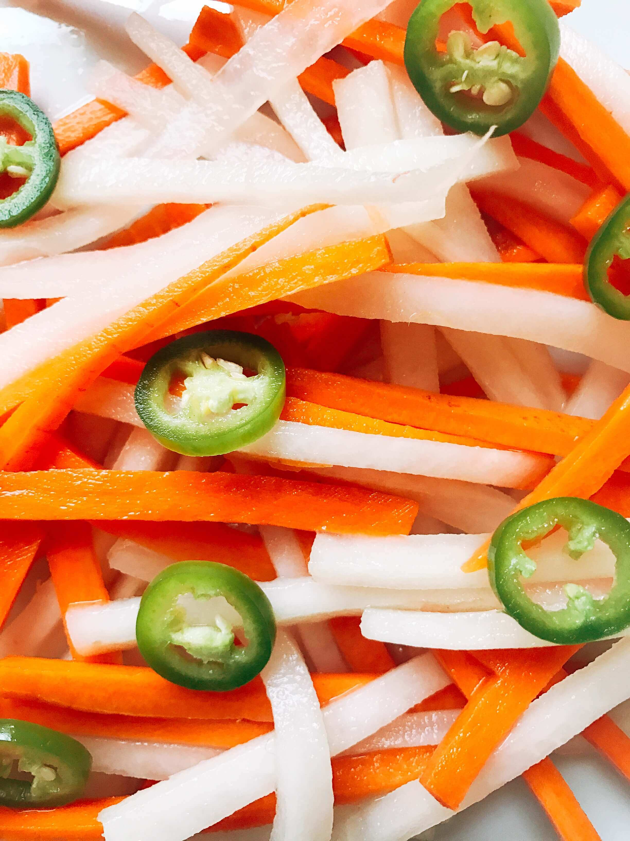 Spicy Vietnamese Pickled Vegetables - Three Olives Branch
