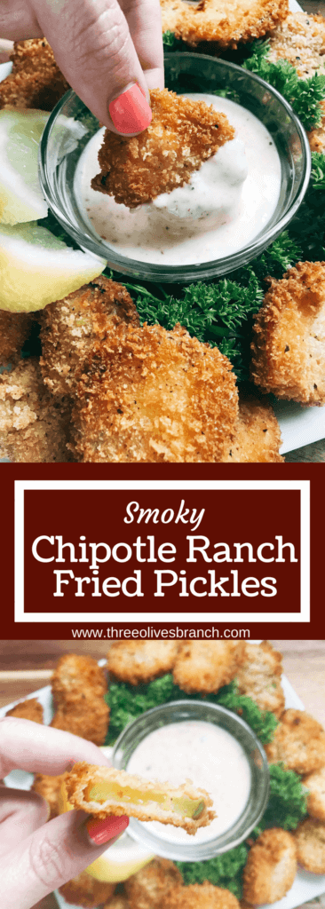 Smoky and slightly spicy fried pickles take on a new life! Tangy ranch flavors are combined with chipotle chile powder for a twist on a classic county fair dish. A crispy breadcrumb coating make these fried pickles perfect for an appetizer or snack, whether for the big game day, a party, BBQ, or summer grill event. Smoky Chipotle Ranch Fried Pickles   Three Olives Branch   www.threeolivesbranch.com