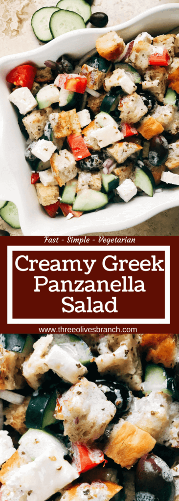 Traditional Italian salad combined with a Greek salad. Simple to make and a perfect side dish for your summer grilling party or BBQ gathering, Father's Day, 4th of July, and more. Bread chunks are tossed with Greek salad ingredients of feta cheese, kalamata olives, red onion, cucumber, and tomatoes with a creamy vinaigrette made from Greek yogurt, oregano, oil, and red wine vinegar. Simple to make and a unique side dish to show off! Creamy Greek Panzanella Salad | Three Olives Branch | www.threeolivesbranch.com
