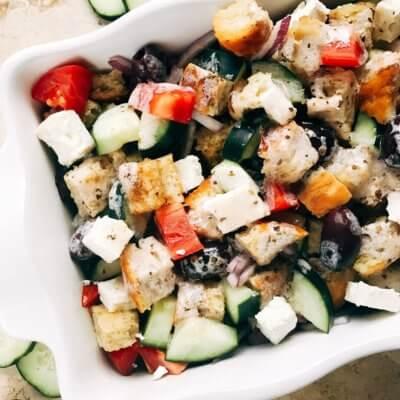Creamy Greek Panzanella Salad