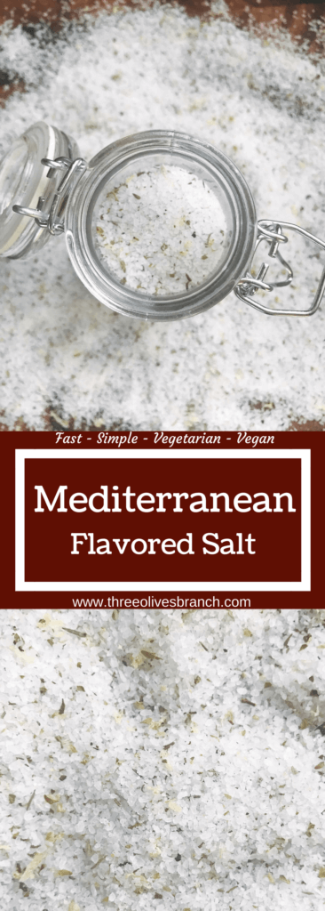 Quick and easy salt ready in minutes to add extra flavor to your favorite foods. Great with chicken, pork, seafood, vegetables, and more! This salt highlights thyme, lemon, and oregano for flavors found in the Mediterranean. Perfect for grilling, parties, and events like Father's Day, 4th of July, summer gatherings, and more. Mediterranean Flavored Salt | Three Olives Branch | www.threeolivesbranch.com