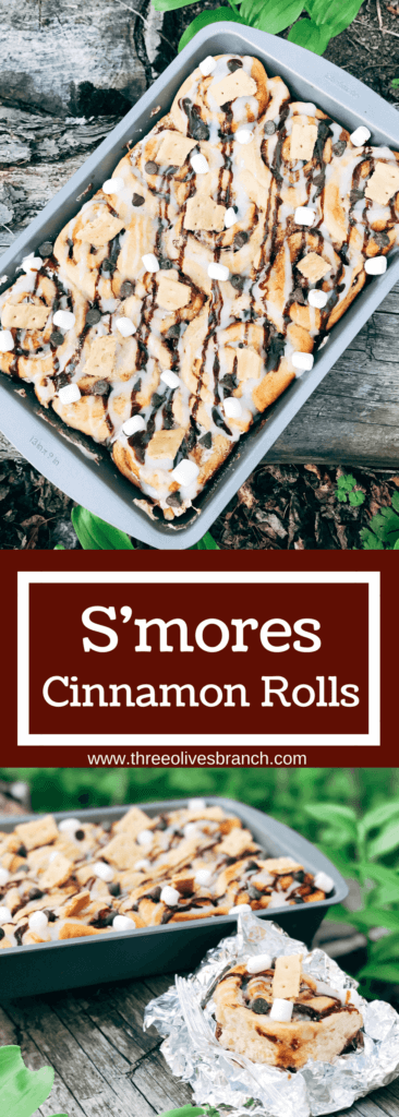 Great for camping and enjoying summer flavors, these rolls are filled with marshmallow fluff, chocolate, and graham crackers. Hold over great for camping trips or cookout parties. Kid friendly and a great way to celebrate summer whether a holiday like 4th of July or a BBQ cookout. S'mores Cinnamon Rolls | Three Olives Branch | www.threeolivesbranch.com