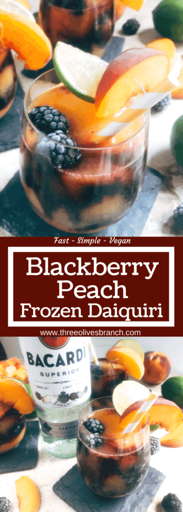 A quick and simple blended alcoholic beverage perfect for warm summer weather. Peaches and blackberries are blended with Bacardi Superior Rum, simple syrup, and lime to make this frozen layered drink. Just 10 minutes for this easy cocktail. Vegan, vegetarian. Blackberry Peach Frozen Daiquiri | Three Olives Branch | www.threeolivesbranch.com