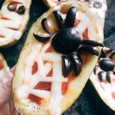 Halloween Pizza Potato Skins