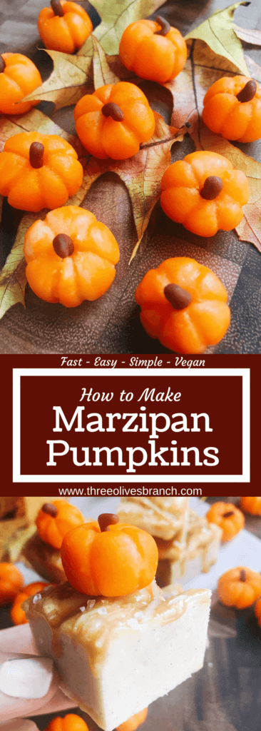 15 minutes to make these cute marzipan pumpkins to decorate your fall sweets and treats! Made out of an almond paste, these pumpkins are vegan, vegetarian, and gluten free. Use them as dessert decoration for Halloween, Thanksgiving, and all fall or autumn long. Quick and simple to make. How to Make Marzipan Pumpkins | Three Olives Branch | www.threeolivesbranch.com