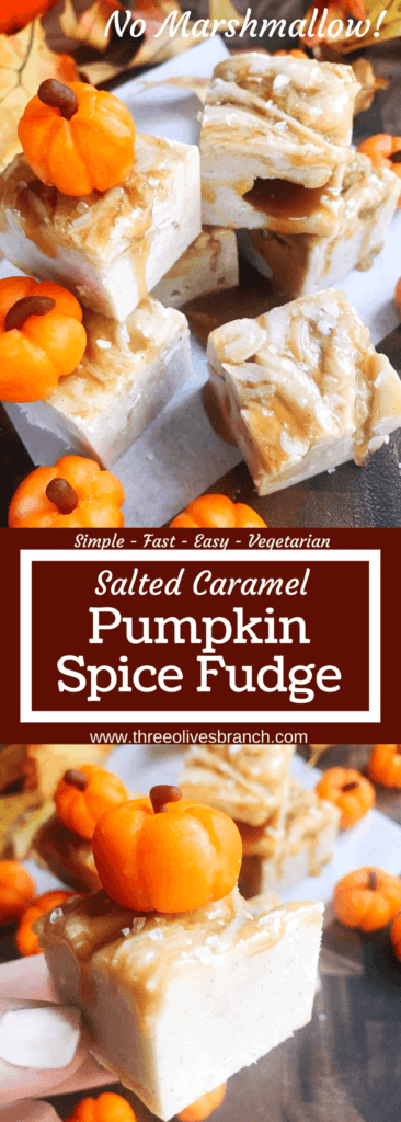 White chocolate fudge with no marshmallow. A seasonal treat for fall/autumn, Halloween, and Thanksgiving. This simple and easy fudge is flavored with pumpkin spice and topped with salted caramel. Microwave fudge. Vegetarian, gluten free GF. Fall comfort food in a simple dessert. Salted Caramel Pumpkin Spice Fudge | Three Olives Branch | www.threeolivesbranch.com