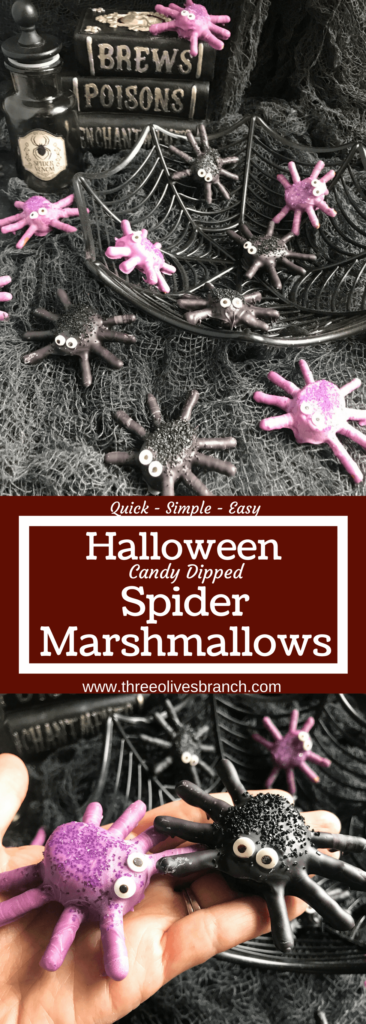 Candy spider marshmallows, perfect for Halloween! Marshmallows are coated in melted purple or black candy with pretzels for legs. Decorated with candy eyes and colored sugar sprinkles. A fun dessert treat to make for Halloween parties. Halloween Candy Dipped Spider Marshmallows | Three Olives Branch | www.threeolivesbranch.com #halloween #marshmallow #spider